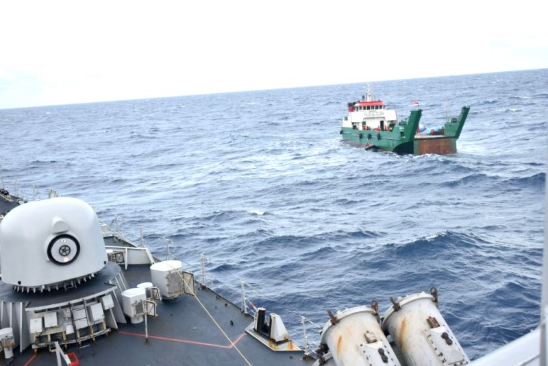 Maria 3, the missing Maldivian landing craft that was located by Indian Navy's INS Kirch and a Dornier aircraft. The boat was unable to propel as its forward ramp had collapsed.