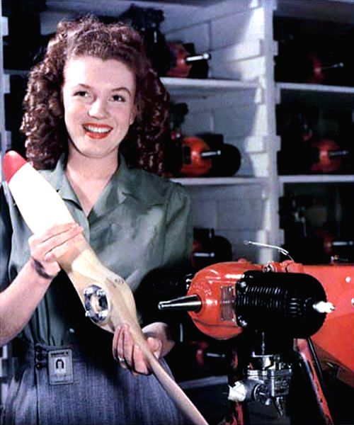 Marilyn Monroe while working in a war factory in 1944