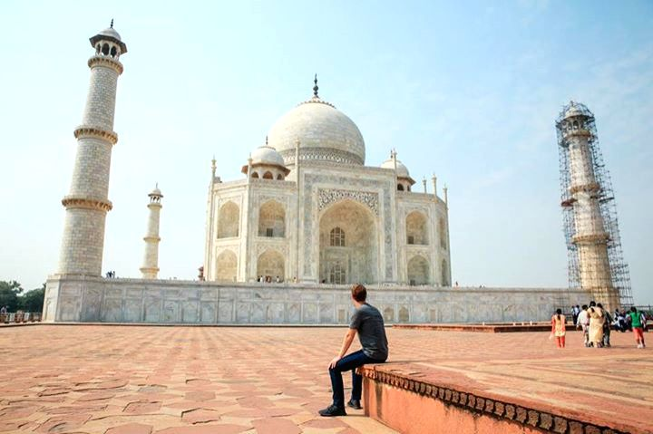 Mark Zuckerberg at the Taj Mahal in Agra, India.