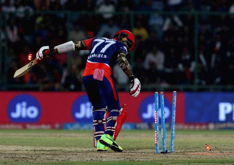 Marlon Samuels of Delhi Daredevils gets dismissed during an IPL 2017 match between Delhi Daredevils and Royal Challengers Bangalore at Feroz Shah Kotla Ground in New Delhi on May 14, 2017.