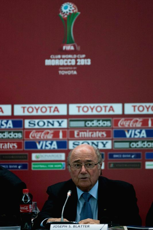 FIFA President Joseph Blatter speaks during a news conference at the FIFA's 2013 Club World Cup soccer tournament in Marrakech, Morocco, Dec. 19, 2013. .