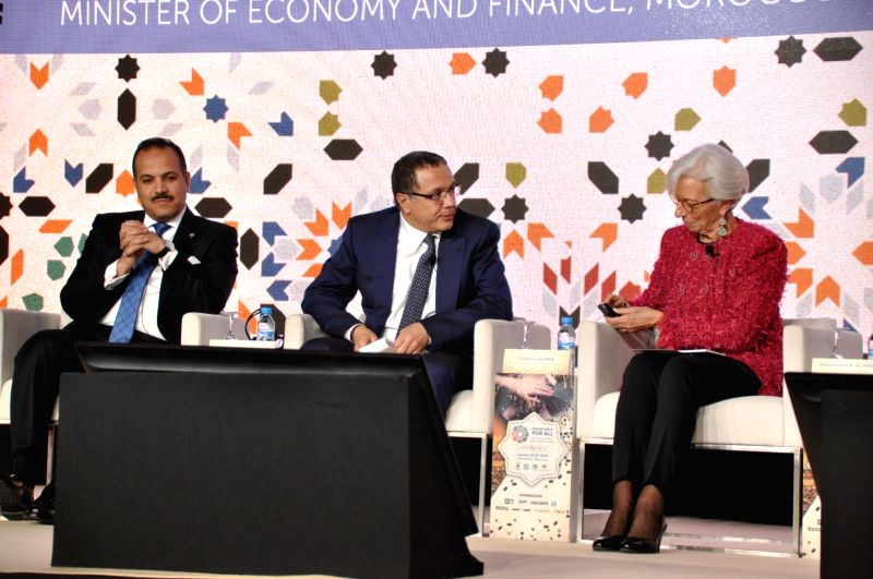 MARRAKESH (MOROCCO), Jan. 30, 2018 International Monetary Fund (IMF) Managing Director Christine Lagarde (R) participates in the closing ceremony of a high-level conference on Arab ...