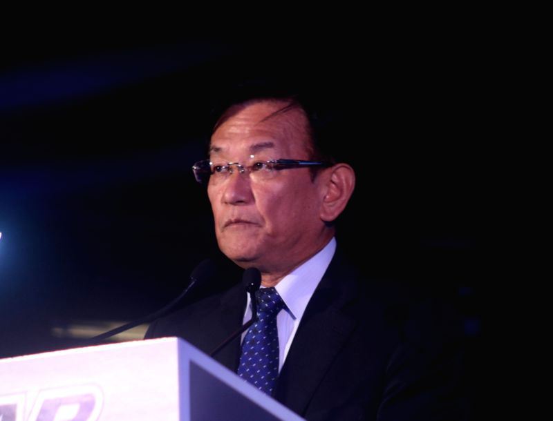 Maruti Suzuki CEO and Managing Director Kenichi Ayukawa  addresses at the launch of  Ecstar Engine Oil OW16, in New Delhi, on July 19, 2018.