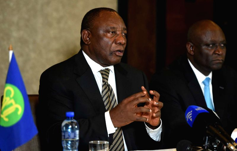 MASERU (LESOTHO), March 5, 2015 South African Deputy President Cyril Ramaphosa (L), in his capacity as Southern African Development Community (SADC) facilitator, speaks during a briefing ...