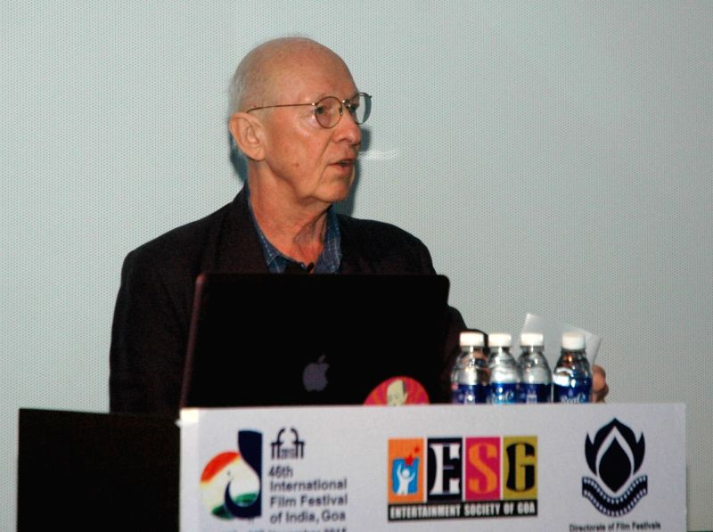Master Class on Editing by Humphrey Dixon (Editor, UK), at the 46th International Film Festival of India (IFFI-2015), in Panaji, Goa on Nov 28, 2015.