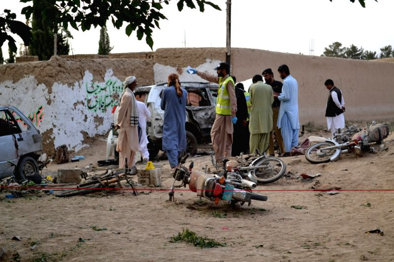 MASTUNG, May 12, 2017 - Officials examine the blast site in southwest Pakistan's Mastung, on May 12, 2017. Pakistani Prime Minister Nawaz Sharif on Friday condemned the deadly attack targeted on the ... - Nawaz Sharif