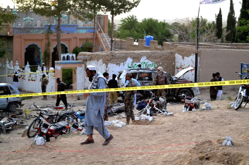 MASTUNG, May 12, 2017 - Security officials cordon off the blast site in southwest Pakistan's Mastung, on May 12, 2017. Pakistani Prime Minister Nawaz Sharif on Friday condemned the deadly attack ... - Nawaz Sharif