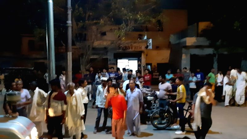 Mathura: Enraged over brutal murder and dismembering of the body of an elderly man a mob has vandalised a police check-post and pelted stones forcing policemen to flee in Mathura district on June 18, 2019.