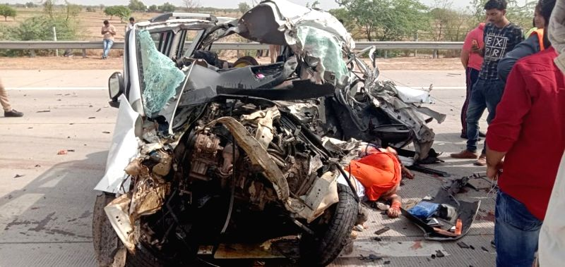 Mathura: The mangled remains of a car that rammed into a truck on Yamuna Expressway in Mathura, on June 16, 2019. Reportedly, 6 people were killed and 2 critically injured.