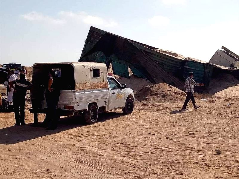 MATROUH, July 12, 2018 - Photo taken on July 12, 2018 shows the collision site in Matrouh Province, Egypt. At least 10 people were killed and 25 wounded on Thursday as a truck collided with a bus on ...