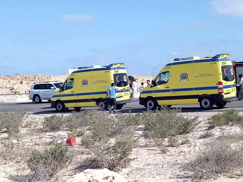 MATROUH, July 12, 2018 - Two ambulances arrive at the collision site in Matrouh Province, Egypt, on July 12, 2018. At least 10 people were killed and 25 wounded on Thursday as a truck collided with a ...