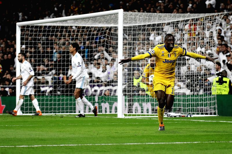 Matuidi celebrates his goal during Champions League match between Real Madrid and Juventus for the second leg 1/4 final qualifier at Santiago Bernabeu stadium, in Madrid, Spain, on April 11, 2018. ...