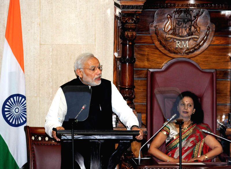 Prime Minister Narendra Modi addresses at the National Assembly of Mauritius on March 12 2015. - Narendra Modi