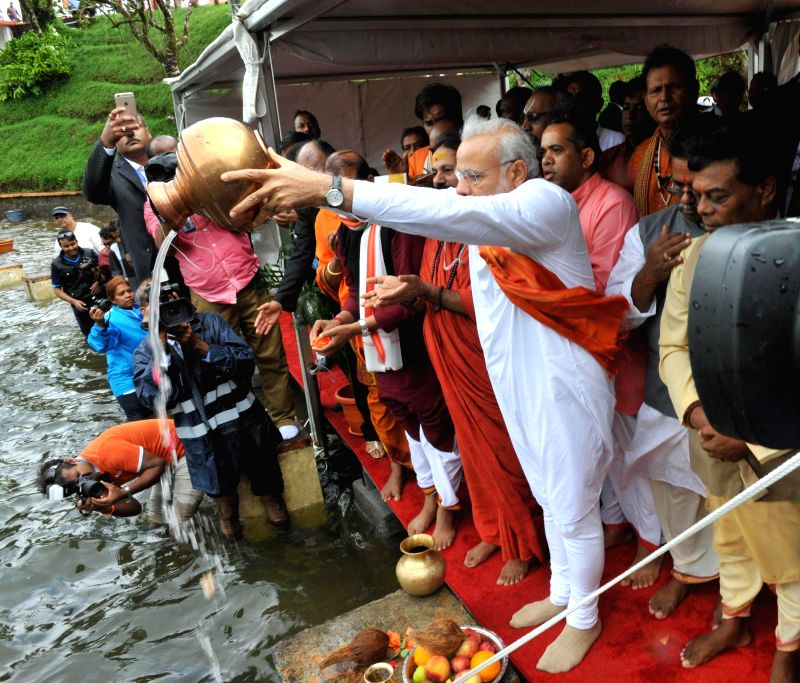 Prime Minister Narendra Modi at the Ganga Talao, in Mauritius on March 12, 2015. - Narendra Modi
