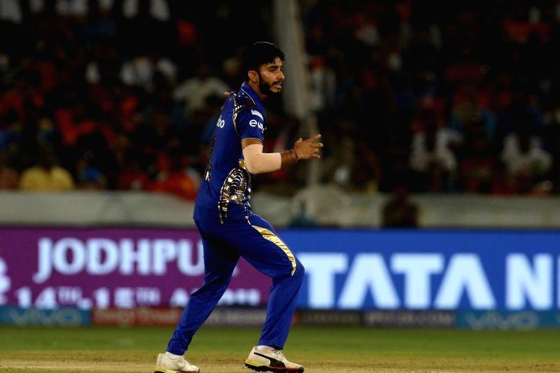 Mayank Markande of Mumbai Indians during an IPL 2018 match between Sunrisers Hyderabad and Mumbai Indians at Rajiv Gandhi International Cricket Stadium in Hyderabad on April 12, 2018.
