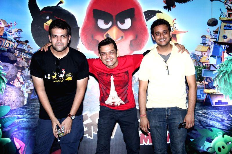 Mayur Puri, Taranveer Singh and Akshaye Rathi during the premier of film The Angry Birds in Mumbai, on May 26, 2016. - Taranveer Singh