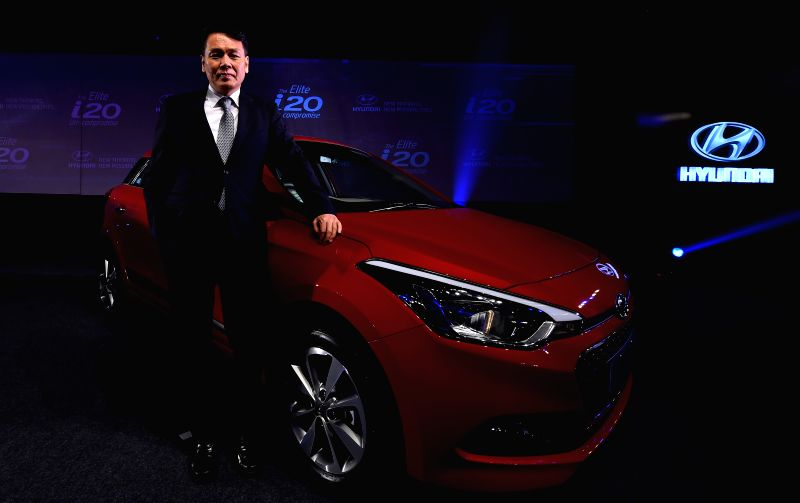 MD and CEO of Hyundai Motors India Ltd., B S Seo during the launch of `Elite i20` in Chennai on Aug 12, 2014.