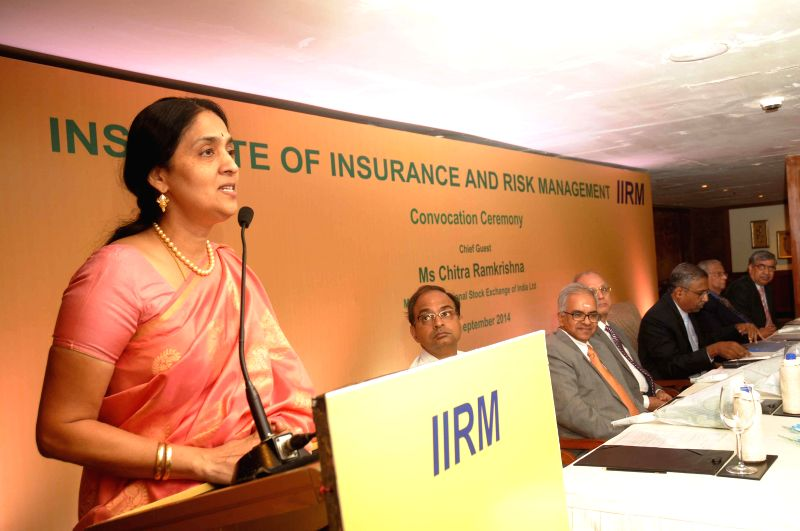 MD and CEO of NSE Chitra Ramkrishna addresses during a programme organised by Institute of Insurance and Risk Management (IIRM) in Hyderabad on Sept 3, 2014.