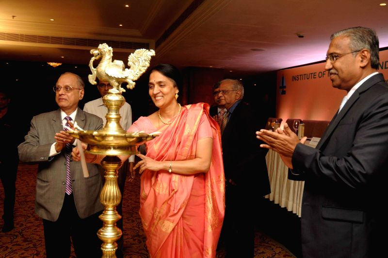 MD and CEO of NSE Chitra Ramkrishna during a programme organised by Institute of Insurance and Risk Management (IIRM) in Hyderabad on Sept 3, 2014.