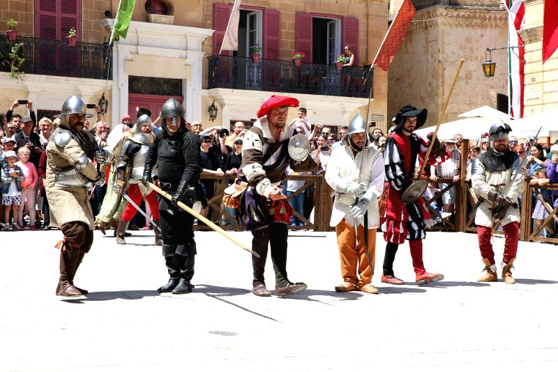 MDINA (MALTA), April 30, 2017 Re-enactors dressed as soldiers take part in the Medieval Mdina Festival in Mdina, Malta, on April 30, 2017. The 2017 Medieval Mdina Festival is held here on ...