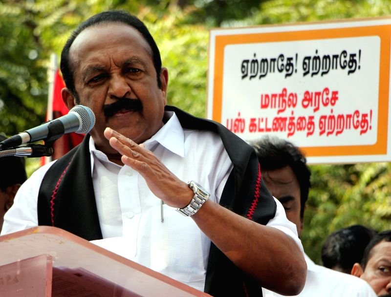 MDMK leader Vaiko addresses during a protest against the hike in bus fares; in Chennai on Jan 27, 2018.