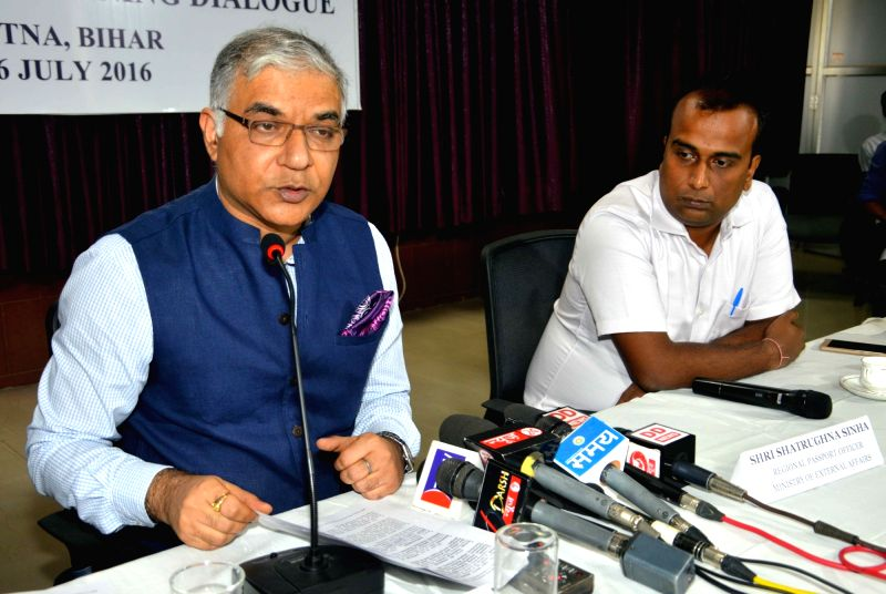 MEA's joint secretary (policy, planning and research) Santosh Jha addresses a press conference regarding 'BRICS Dialogue on Foreign Policy' in Patna on July 25, 2016.