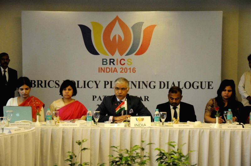 MEA's joint secretary (policy, planning and research) Santosh Jha addresses during the 'BRICS Policy Planning Dialogue' in Patna on July 26, 2016.