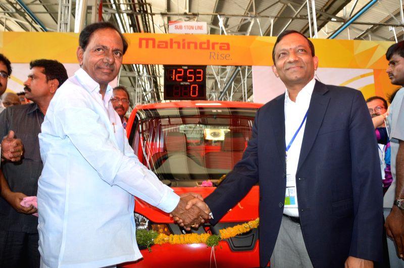 Telangana Chief Minister K Chandrasekhar Rao at the inauguration of Mahindra & Mahindra factory in Medak district of Telangana on April 22, 2015. - K Chandrasekhar Rao