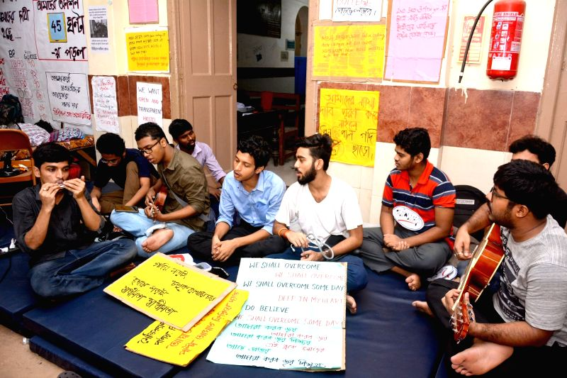 Medical students go on a hunger strike to press for their various demands at Medical College and Hospital, in Kolkata on July 12, 2018.