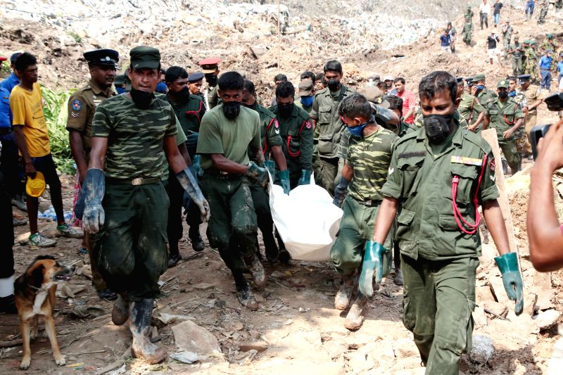 MEETOTAMULLA, April 17, 2017 - Photo taken on April 17, 2017 shows the search operations by Sri Lanka Army to find more victims buried under rubble following a garbage dump collapse in Meetotamulla, ...
