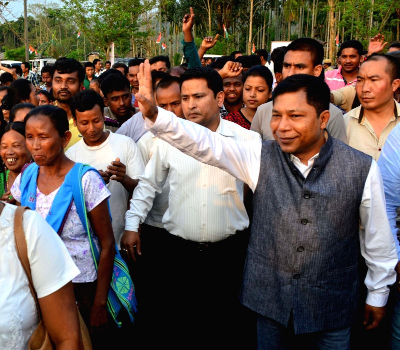 Meghalaya Chief Minister Mukul Sangma arrives to address a rally in Kamrup district of Assam on April 6, 2016. - Mukul Sangma