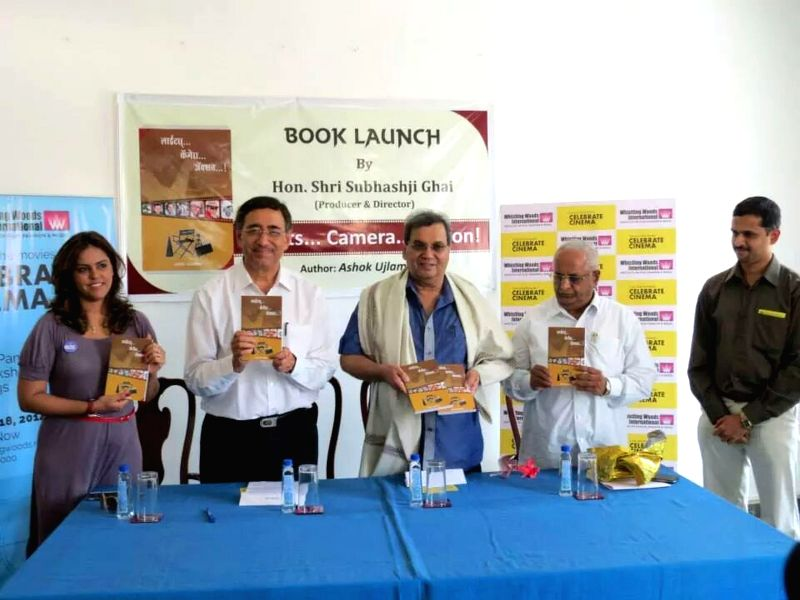 Meghna Ghai Puri, Pradeep Bhide, Subhash Ghai, Ashok Ujlambkar at the launch of renowned author Ashok Ujlambkar's book `Light Camera Action` at Whistling Woods International in Mumbai on May 18, ...