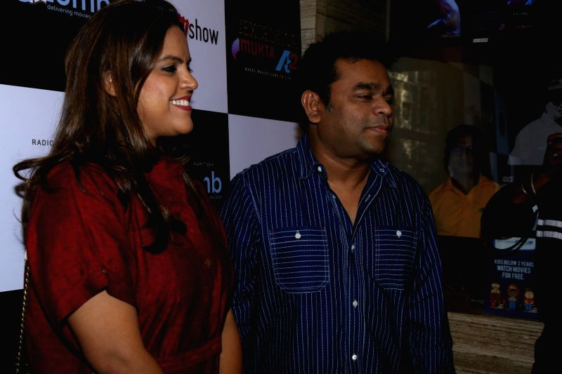 Meghna Ghai Puri, President, Whistling Woods International and music composer A R Rahman during the screening of classical film Taal in Mumbai on April 9, 2017.