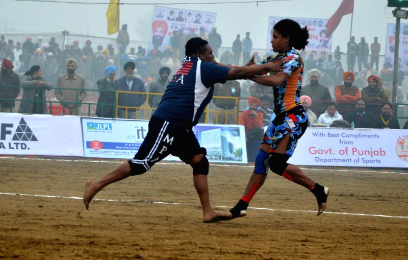 Mehta Chownk: Players in action during the 5th World Cup Kabaddi match between Denmark and USA at Mehta Chownk, 40 km away from Amritsar on Dec. 17, 2014. Denmark won.