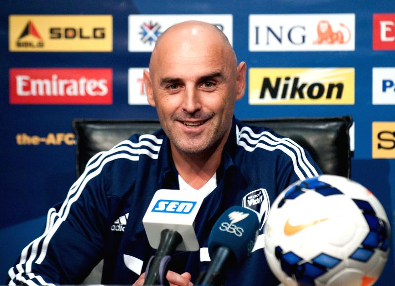 Kevin Muscat, head coach of Melbourne Victory, attends a press conference at Etihad Stadium in Melbourne, Australia, April 14, 2014. Melbourne Victory will host .