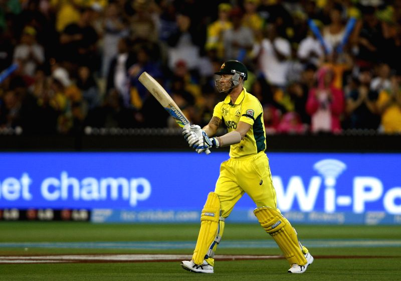 Melbourne (Australia): Australian batsman Michael Clarke in action during the final match of ICC World Cup 2015 between Australia and New Zealand at Melbourne Cricket Ground in Australia on March 29, ... - Michael Clarke