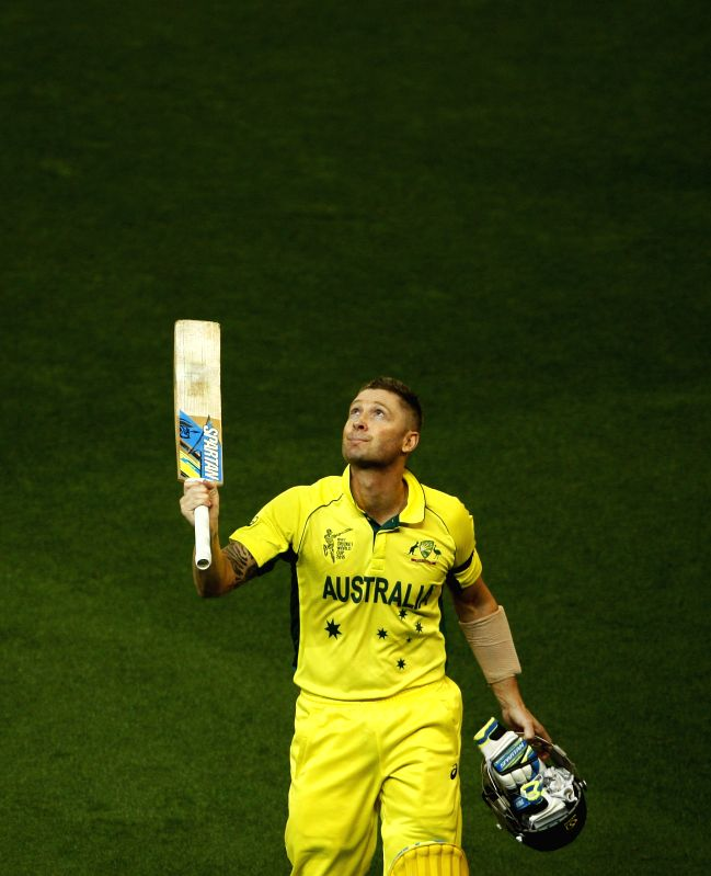 Melbourne (Australia): Australian captain Michael Clarke during the final match of ICC World Cup 2015 between Australia and New Zealand at Melbourne Cricket Ground in Australia on March 29, 2015. - Michael Clarke