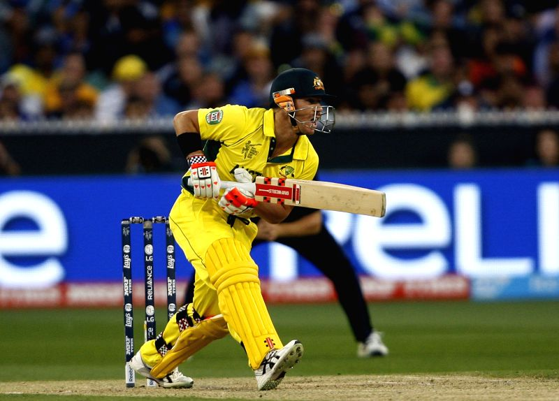Melbourne (Australia): Australian cricketer David Warner in action during the the final match of ICC World Cup 2015 between Australia and New Zealand at Melbourne Cricket Ground in Australia on March ...