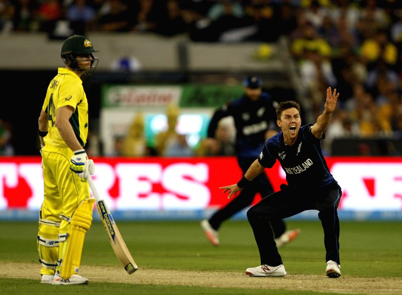 Melbourne (Australia): Australian cricketer Steven Smith in action during the the final match of ICC World Cup 2015 between Australia and New Zealand at Melbourne Cricket Ground in Australia on March ...
