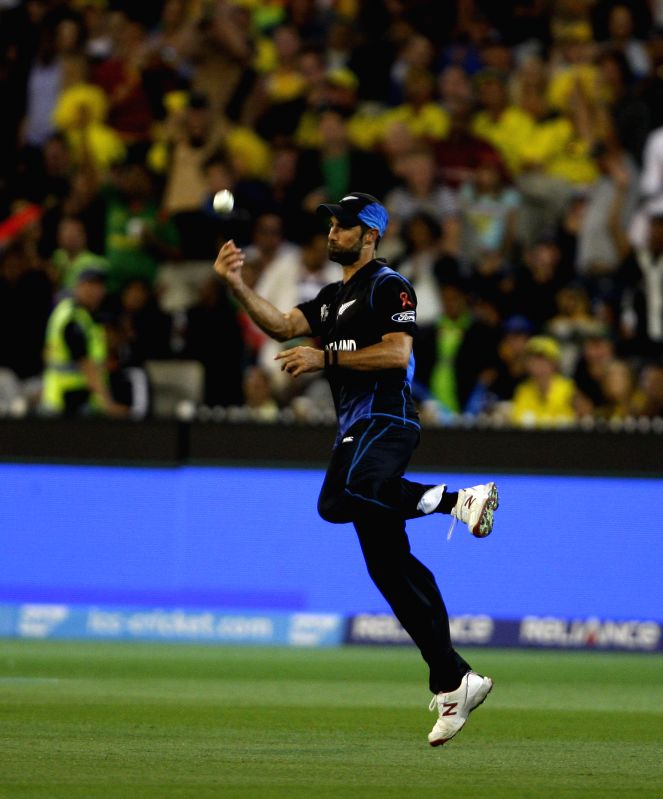 Melbourne (Australia): Grant Elliott of New Zealand during the the final match of ICC World Cup 2015 between Australia and New Zealand at Melbourne Cricket Ground in Australia on March 29, 2015.