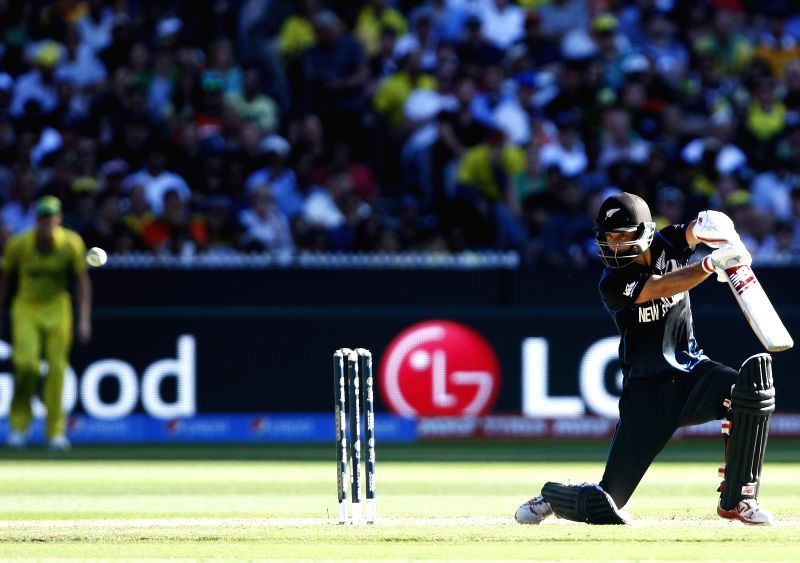 Melbourne (Australia): Grant Elliott of New Zealand in action during the final match of ICC World Cup 2015 between Australia and New Zealand at Melbourne Cricket Ground in Australia on March 29, ...