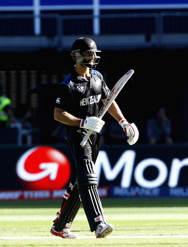 Melbourne (Australia): Grant Elliott of New Zealand during the final match of ICC World Cup 2015 between Australia and New Zealand at Melbourne Cricket Ground in Australia on March 29, 2015.