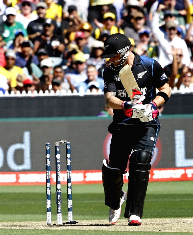 Melbourne (Australia): New Zealand batsman cricketer Brendon McCullum gets bowled during the final match of ICC World Cup 2015 between Australia and New Zealand at Melbourne Cricket Ground in ...