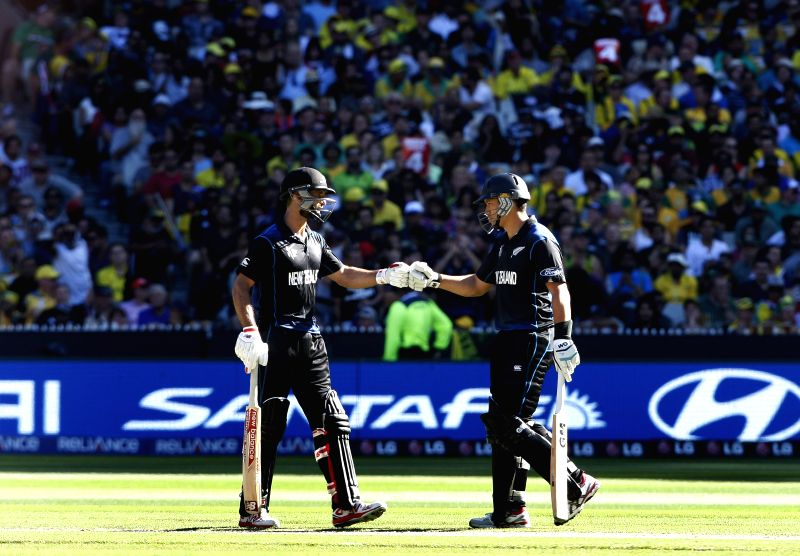 Melbourne (Australia): New Zealand players during the final match of ICC World Cup 2015 between Australia and New Zealand at Melbourne Cricket Ground in Australia on March 29, 2015.