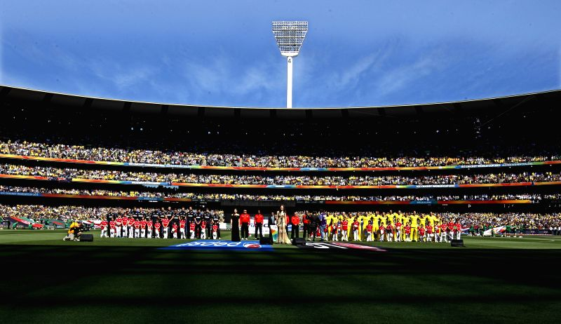 Melbourne (Australia): The Australian and the New Zealand cricketers at the Melbourne Cricket Ground ahead of the final match of ICC World Cup 2015 between Australia and New Zealand in Australia on ...