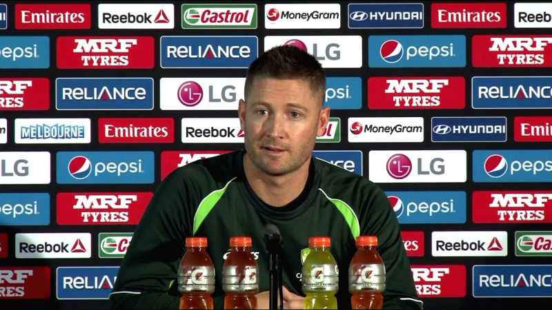 Australian captain Michael Clarke addresses a press conference at the Melbourne Cricket Ground in Melbourne, Australia on March 28, 2015.