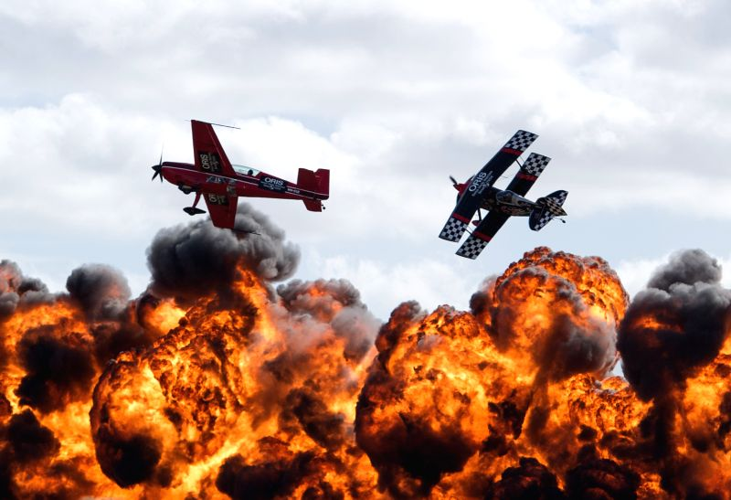 Aerobatic pilots perform at the Australian International Airshow on the Industry Expo day at the Avalon Airfield, southwest of Melbourne, Australia, Feb. 24, ...