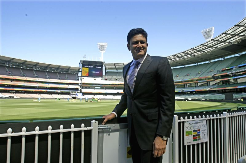 Former Indian cricketer Anil Kumble pose for a photograph after being inducted in the International Cricket Council (ICC) Cricket Hall of fame at the Melbourne Cricket Stadium (MCG) in ...