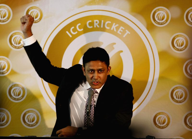 Former Indian cricketer Anil Kumble addresses during a press conference after being inducted in the International Cricket Council (ICC) Cricket Hall of fame at the Melbourne Cricket ...