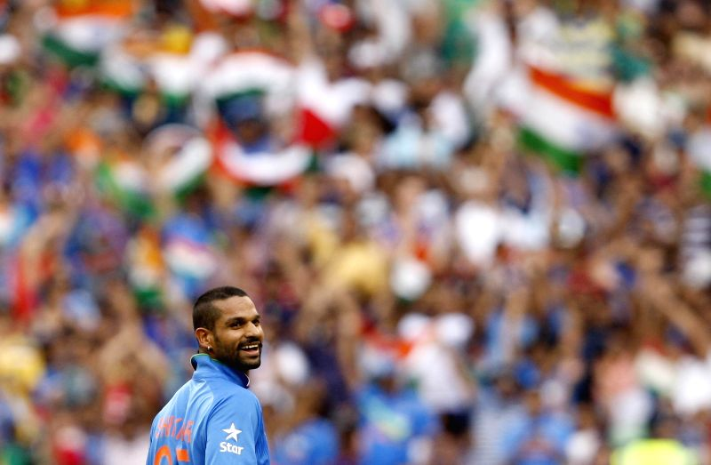 Indian cricketer Shikhar Dhawan during an ICC World Cup 2015 match between India and South Africa at Melbourne Cricket Ground, Australia on Feb 22, 2015. - Shikhar Dhawan